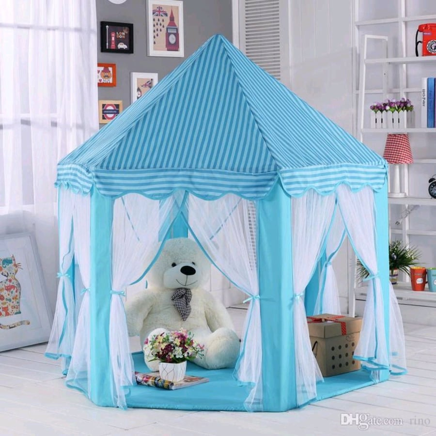 Blue castle tent with star lights- new