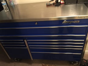 Blue and silver snap-on tool chest