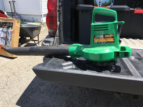 Electric green and black leaf blower