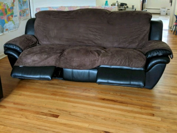 Used Faux Leather Recliner Sofa With Cover For Sale In Hackensack