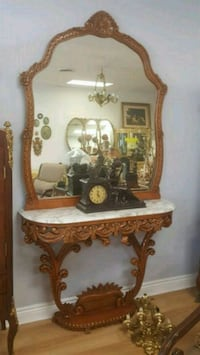 brown wooden vanity table with mirror Aurora
