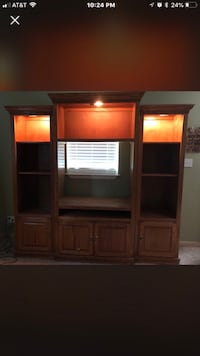 """"""" LIKE NEW"""" Solid Wood 'Oak' Entertainment System (3)pieces with lighted Shelving and Glass doors. Wiggins, 39577"""