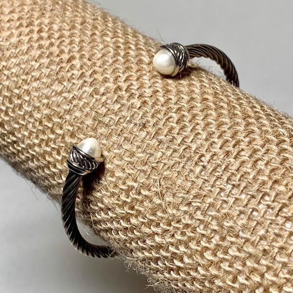Vintage Sterling Silver Pearl Cable Cuff Bracelet