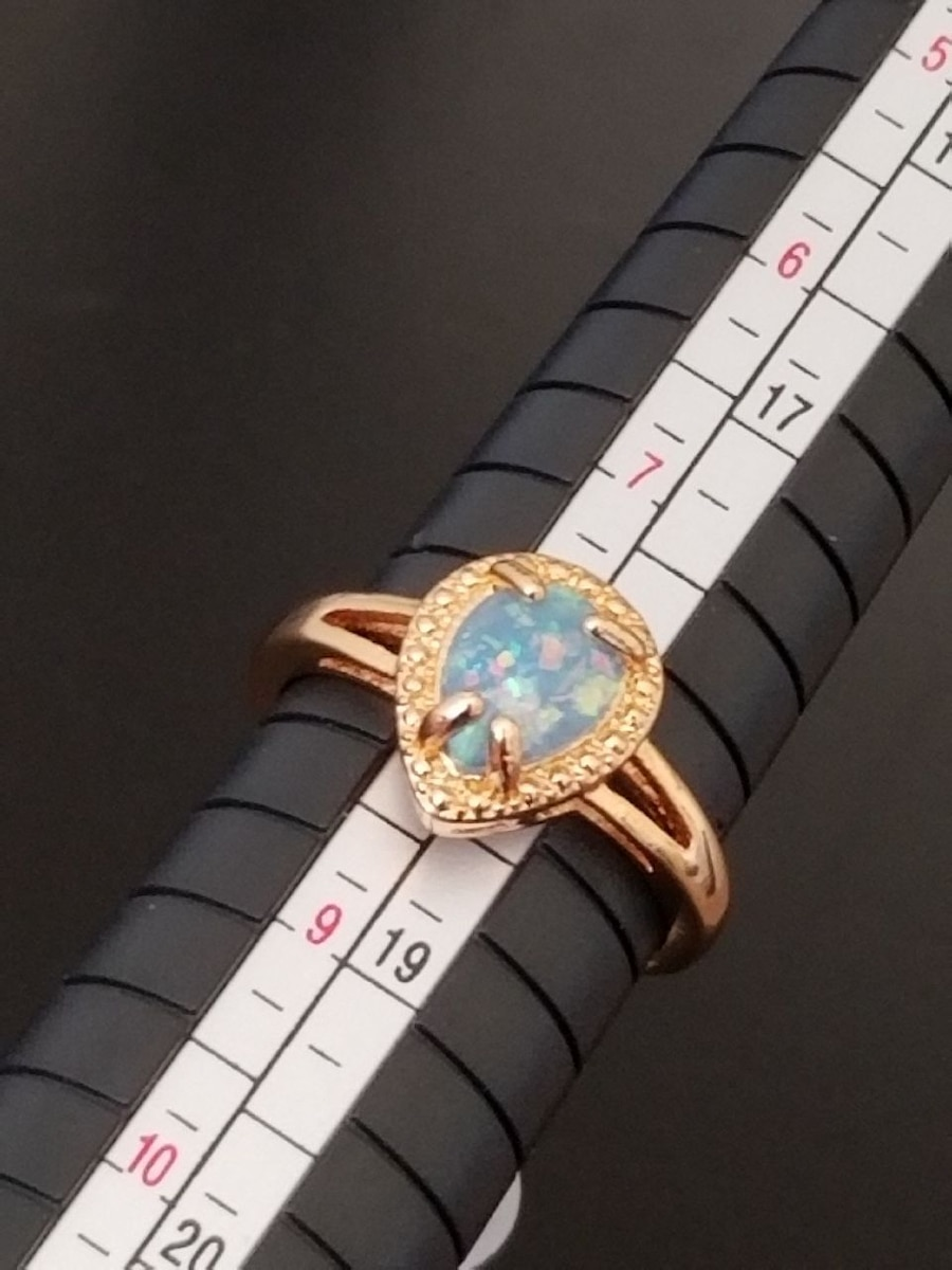 Photo Rose Gold and Fire Opal Ring Size 8