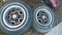 chrome 5-spoke car wheel with tire set Las Vegas, 89104