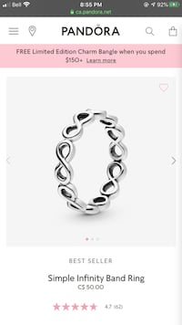 Pandora infinity band size 52 or 6 Oakville, L6H 1Y4
