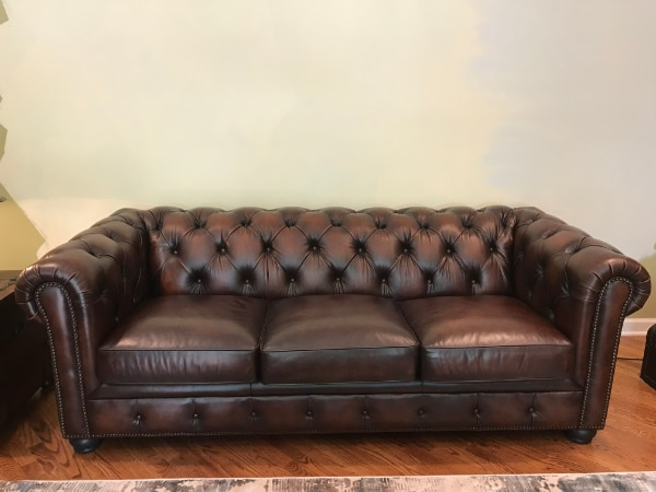 Raymour And Flanigan Brown Leather Sofa