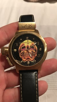 Christian Audigier death skull gold watch with leather band Toronto, M1E 4J5