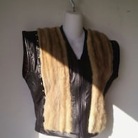 Women Sable Mink & Leather Vest 2054 mi