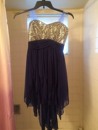 Royal Blue fringed dress with silver sequined chest. Juniors size 7