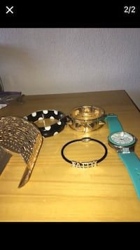 three bracelets and teal chronograph watch with rubber strap Graton, 95444