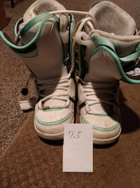 White-and-teal snowboard boots-