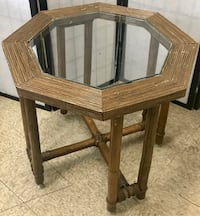 Bamboo Octagonal Glass Panel Top End Table