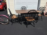 Rectangular brown wooden table with six chairs dining set Brick, 08724