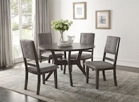 GRAY FINISH MID CENTURY STYLE 5 PIECE ROUND DINING TABLE SET Riverside