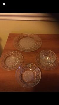 5pc crystal place setting new! fantasia by : princess house #510 i have 3 boxes 30 each setting 57 mi