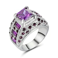 New Amethyst CZ Silver Plated Ring Size 8 Calgary
