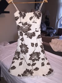 Cream and brown floral strapless dress