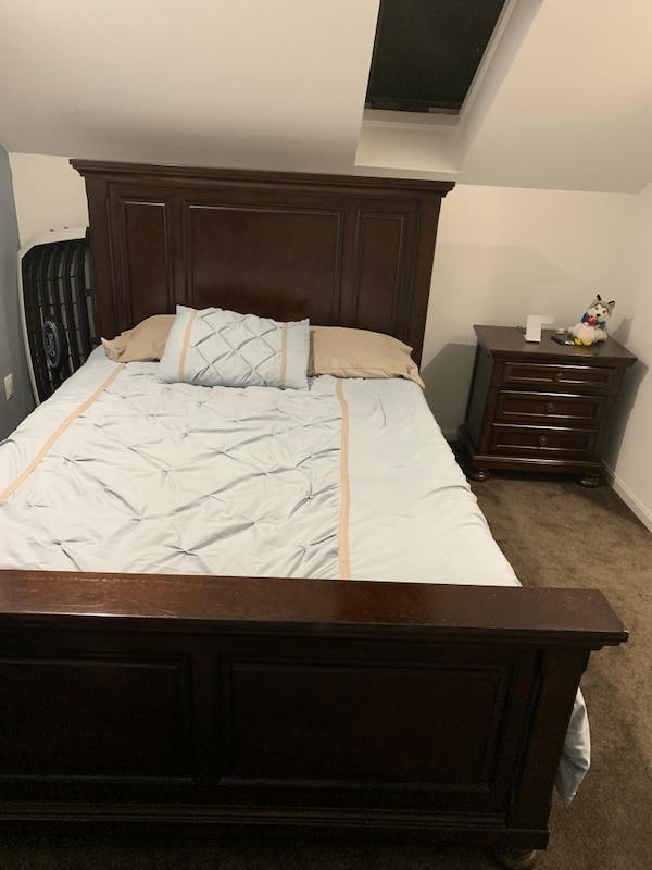 All wood Bed frame (no mattress) and small night table. Furniture ded6f630-f90c-4891-b8dd-84c04a18b1d4