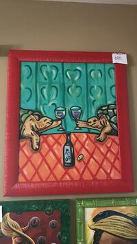 painting of two turtle holding wine glasses