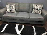 gray fabric 3-seat sofa
