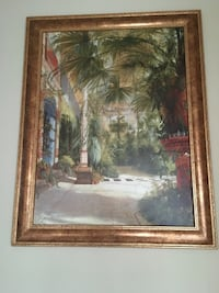 Large Tropical Painting in a Gold Frame