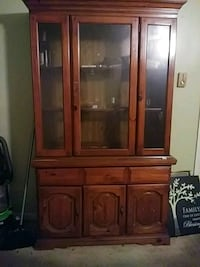 brown wooden framed glass display cabinet Chesapeake, 23320