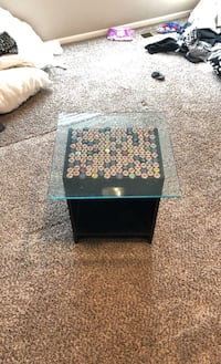 Custom Bottle Top End Table with Glass Top