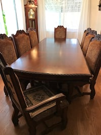 Rectangular brown wooden table with 8 chairs dining set Aurora, 80017