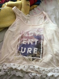 White and blue adventure printed crop top null, T0H 0W4