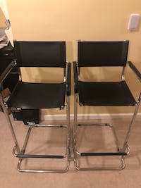 Two black leather bar stools Rockville, 20852