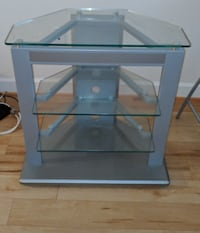 gray metal framed glass top TV stand Vienna
