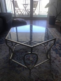 Gold distressed hexagon coffee table