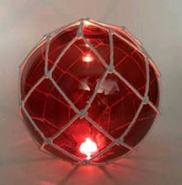 Red LED Lighted (color) Japanese Glass Ball Float w/netting Decoration Alhambra