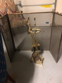 Brass Fireplace Screen and Tools