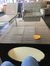 Center Wooden Coffee Table With Glass Top  2256 mi