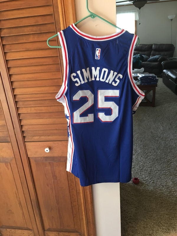 finest selection 175cd c0b28 Ben Simmons Philadelphia Sixers Blue Jersey Sizes Large and XL 76ers