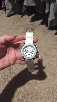 round silver chronograph watch with white leather strap Bogart, 30622