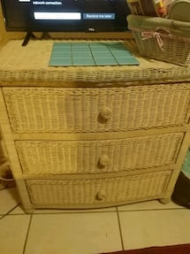 Wicker dresser and 2 night stands