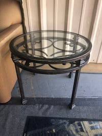 Glass Top Wrought Iron Round Side Table  Kenner, 70062