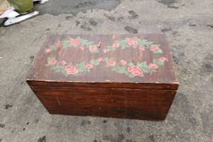 Wooden storage chest / box - vintage
