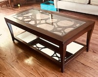 rectangular brown wooden framed glass top coffee table Houston, 77025