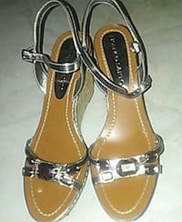 pair of brown-and-black sandals