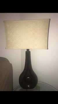 Black wooden base table lamp with white lampshade ELKRIDGE