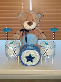 Teddy Bear Drum Set Baby Diaper Cake