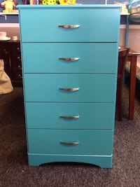 Turquoise 5 drawer dresser new