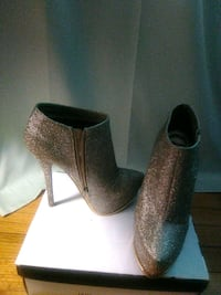 pair of brown leather heeled booties Montgomery Village, 20886