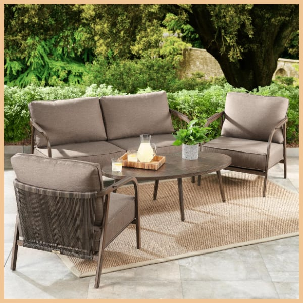 New (Retail $587) 4-Piece Patio Loveseat Set with Beige Cushions
