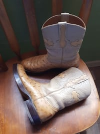 pair of brown leather cowboy boots ostrich 7 1/2