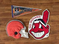 """3 VTG Sports door/wall signs  - CLE Indians, Cavs & Browns (cloth helmet 20"""") - $15 total   Mentor, 44060"""